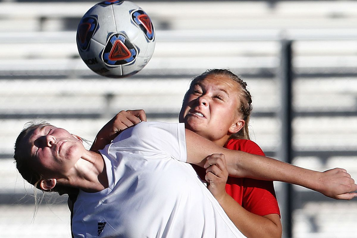 Juab's Marissa Hall (2) and Manti's Sadie Cartright (9) compete in the 3A high school soccer semifinals at Juan Diego High School in Draper on Wednesday, Oct. 21, 2020.