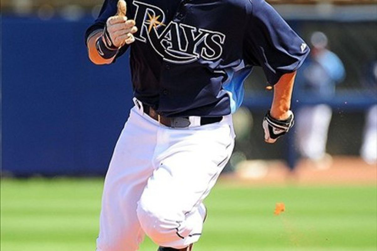 Mar. 4, 2012; Port Charlotte, FL, USA; Tampa Bay Rays outfielder Jeff Salazar (45) rounds second base against the Minnesota Twins at Charlotte Sports Park. Mandatory Credit: Andrew Weber-US PRESSWIRE