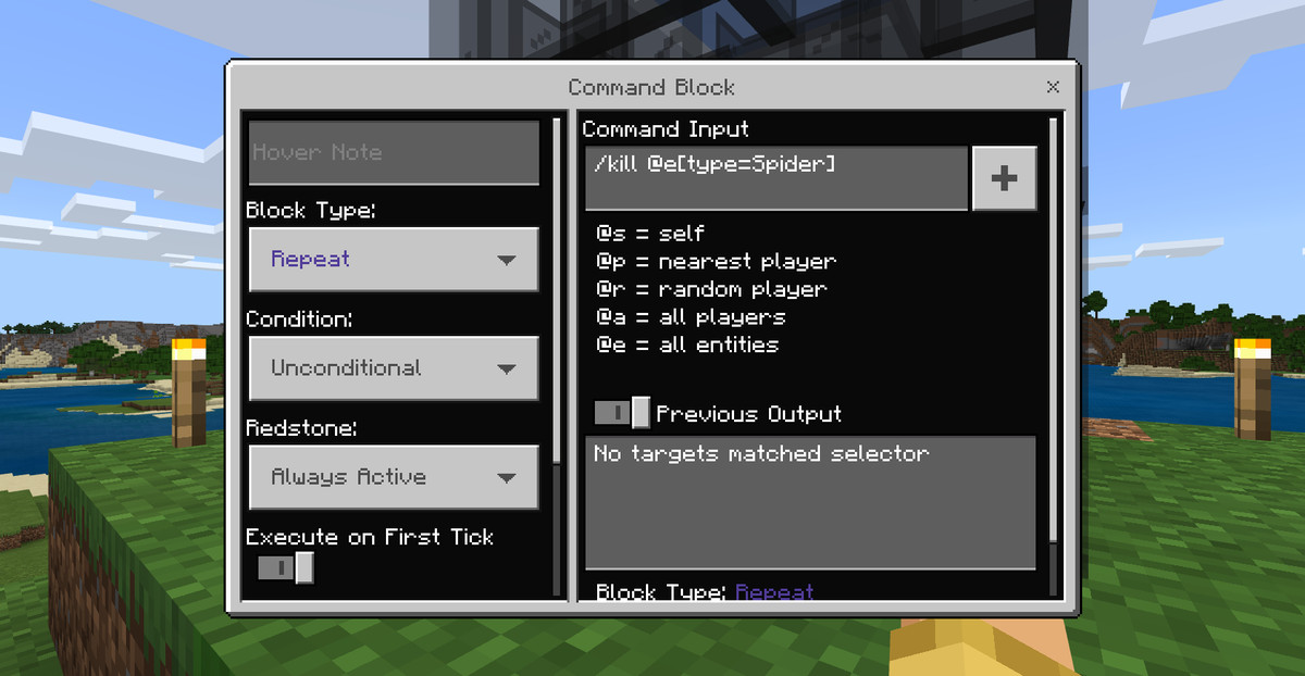 A Command Block prompt set to kill spiders