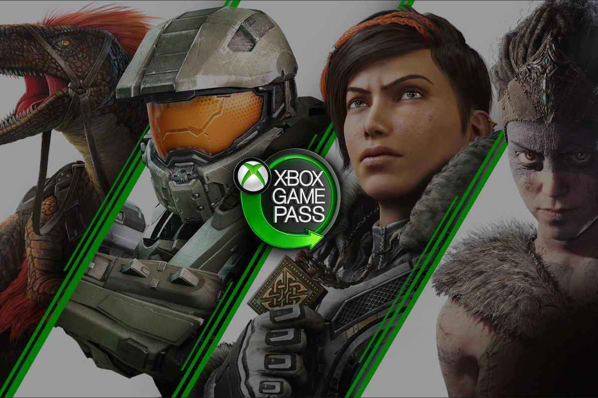 Artwork from Ark Survival Evolved, Halo, Hellblade, and Gears 5 to promote Xbox Game Pass PC