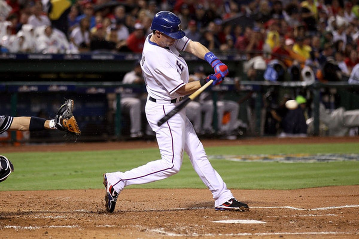 Michael Young.  (Photo by Elsa/Getty Images) *** Local Caption *** Michael Young