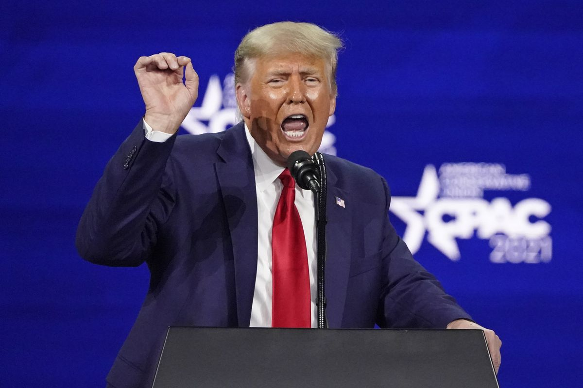 Former President Donald Trump speaks at the Conservative Political Action Conference on Sunday, Feb. 28, 2021, in Orlando, Fla