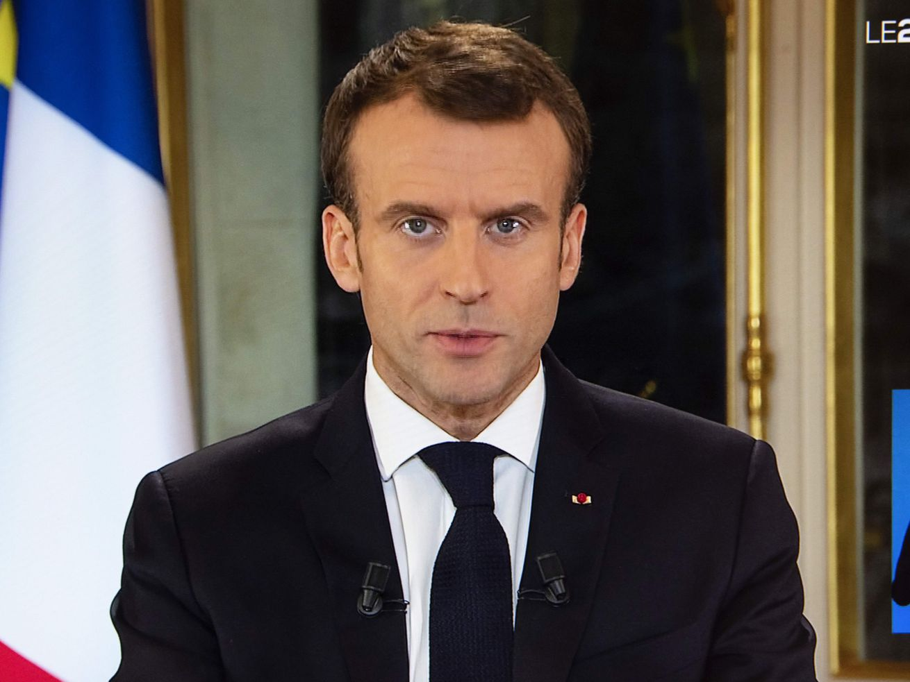 French President Emmanuel Macron's special address to the nation, his first public comments after four weeks of nationwide protests, at the Elysée Palace in Paris.