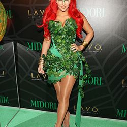 Kim Kardashian dressed up as Poison Ivy. Her husband, Kris Humphries, was sadly not standing around in a Mr. Freeze costume.