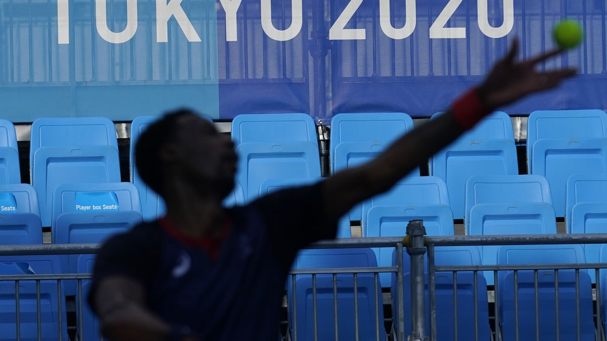 Gael Monfils, of France, practices at the Ariake Tennis Center ahead of the 2020 Summer Olympics in Tokyo.