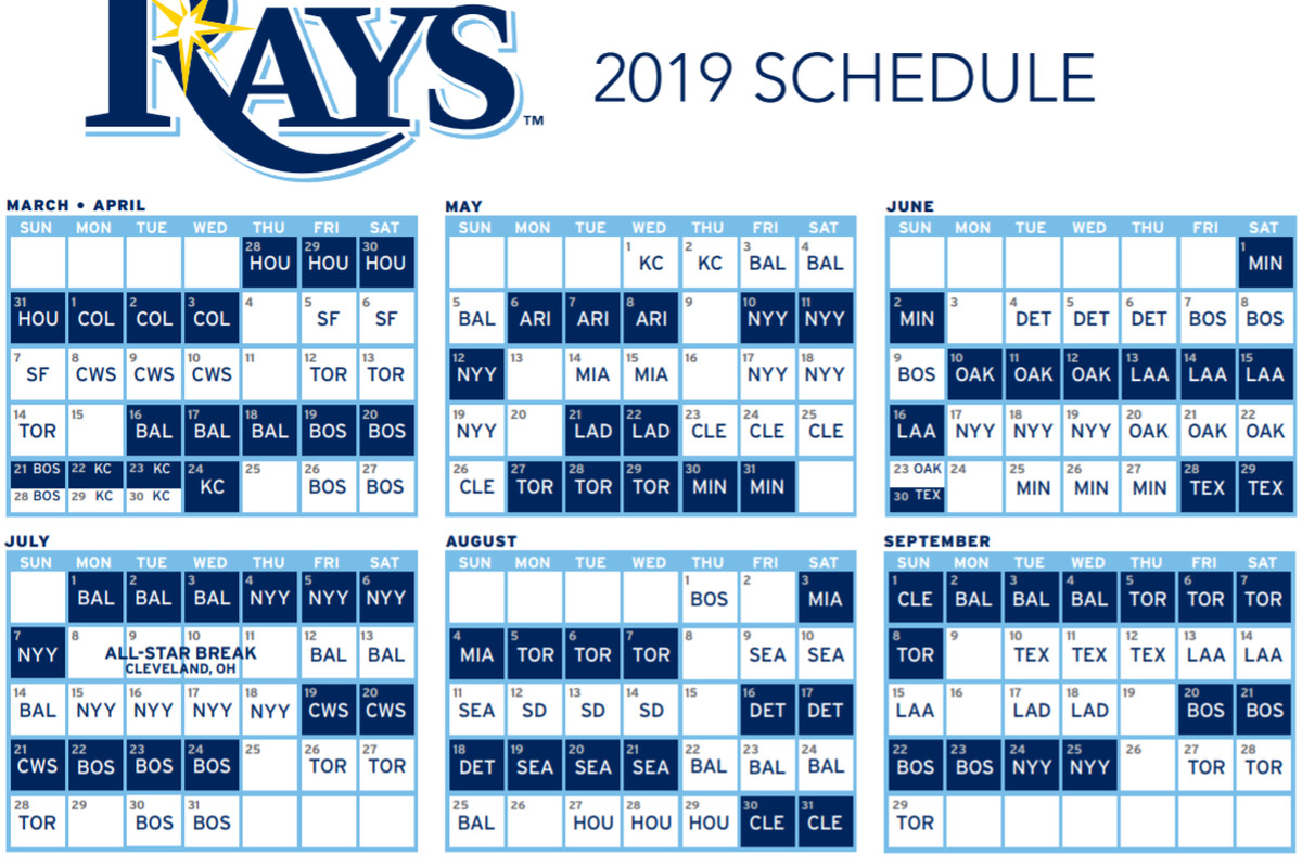 Calendrier Nfl 2020 2019.Tampa Bay Rays Release 2019 Schedule Draysbay