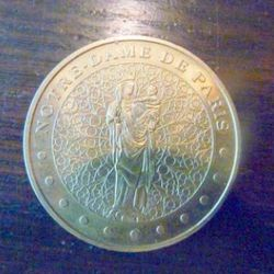 Lucky coin from Notre Dame in Paris
