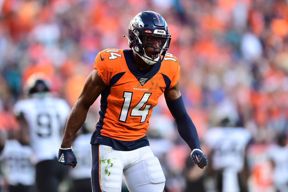 Denver Broncos wide receiver Courtland Sutton celebrates his touchdown reception in the fourth quarter against the Jacksonville Jaguars at Empower Field at Mile High.