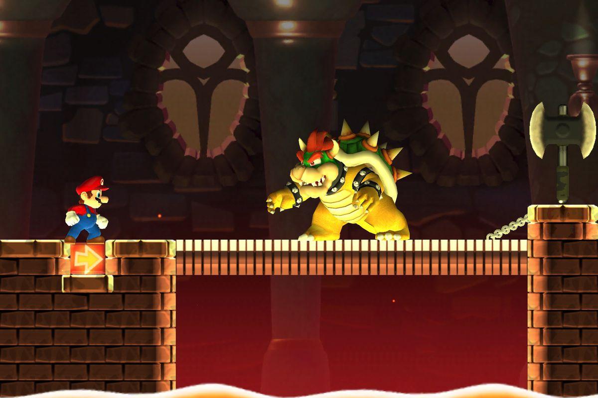 Mario squares off against Bowser