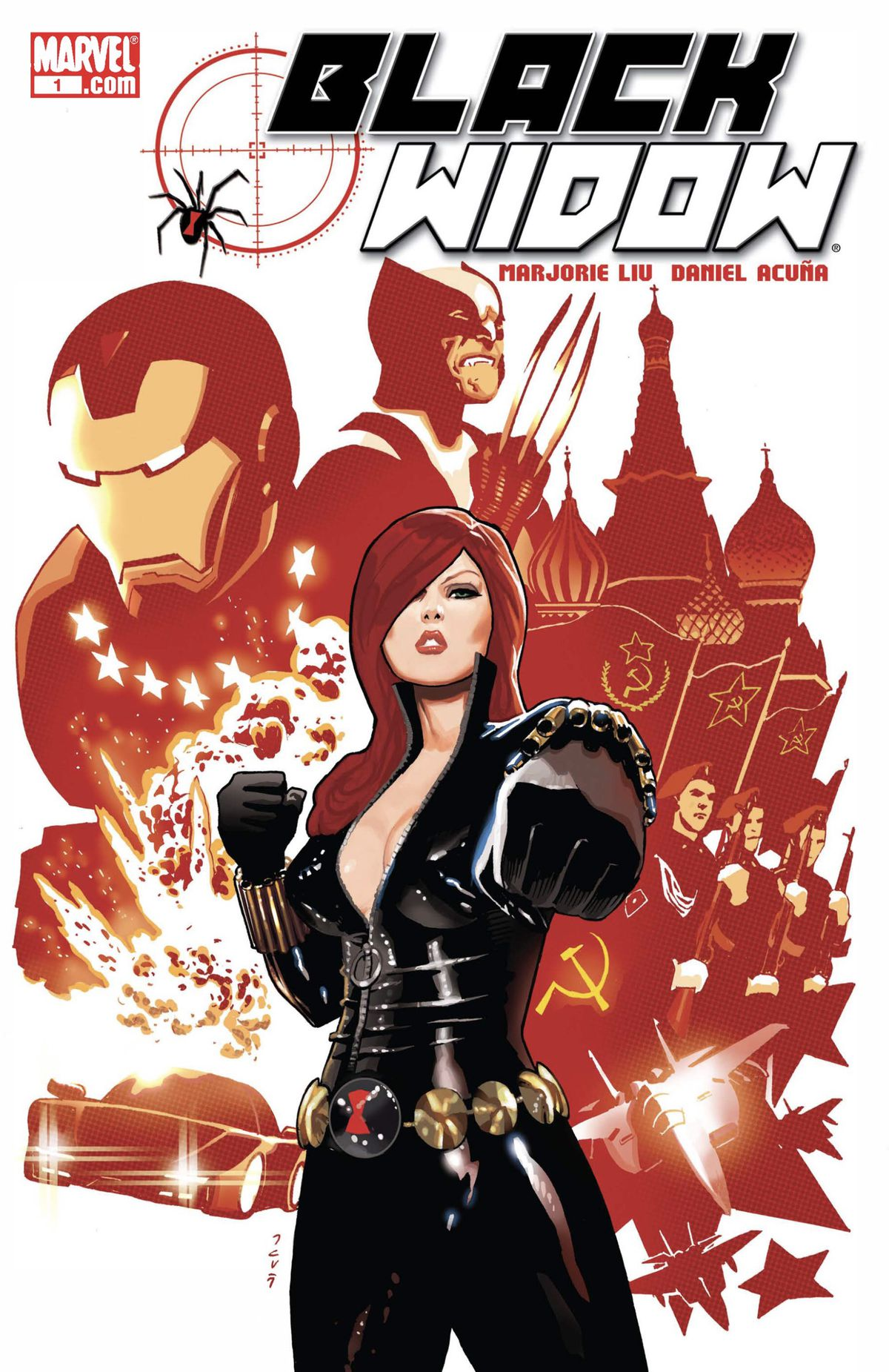 Black Widow/Natasha Romanoff points her wrist blaster at the camera, in front of a collage of Russian military symbols, Iron Man and Wolverine.
