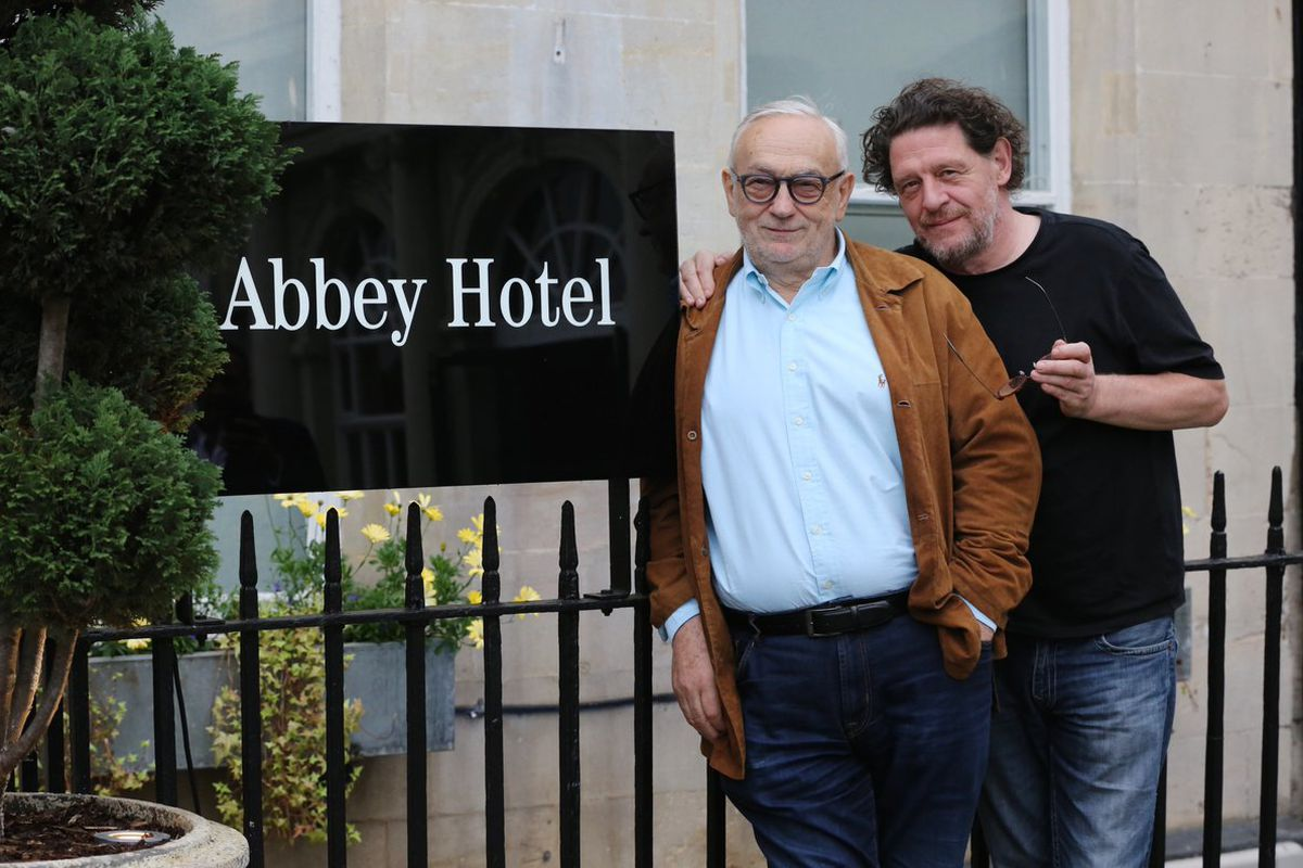 Pierre Koffmann and Marco Pierre White at the Abbey Hotel in Bath, the site of the duo's new restaurant collaboration