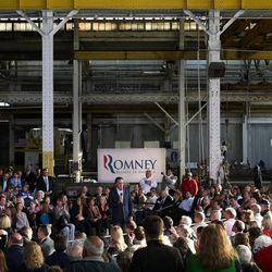 Republican presidential candidate, former Massachusetts Gov. Mitt Romney speaks during a campaign stop at RC Fabricators on Tuesday, April 10, 2012, in Wilmington, Del.
