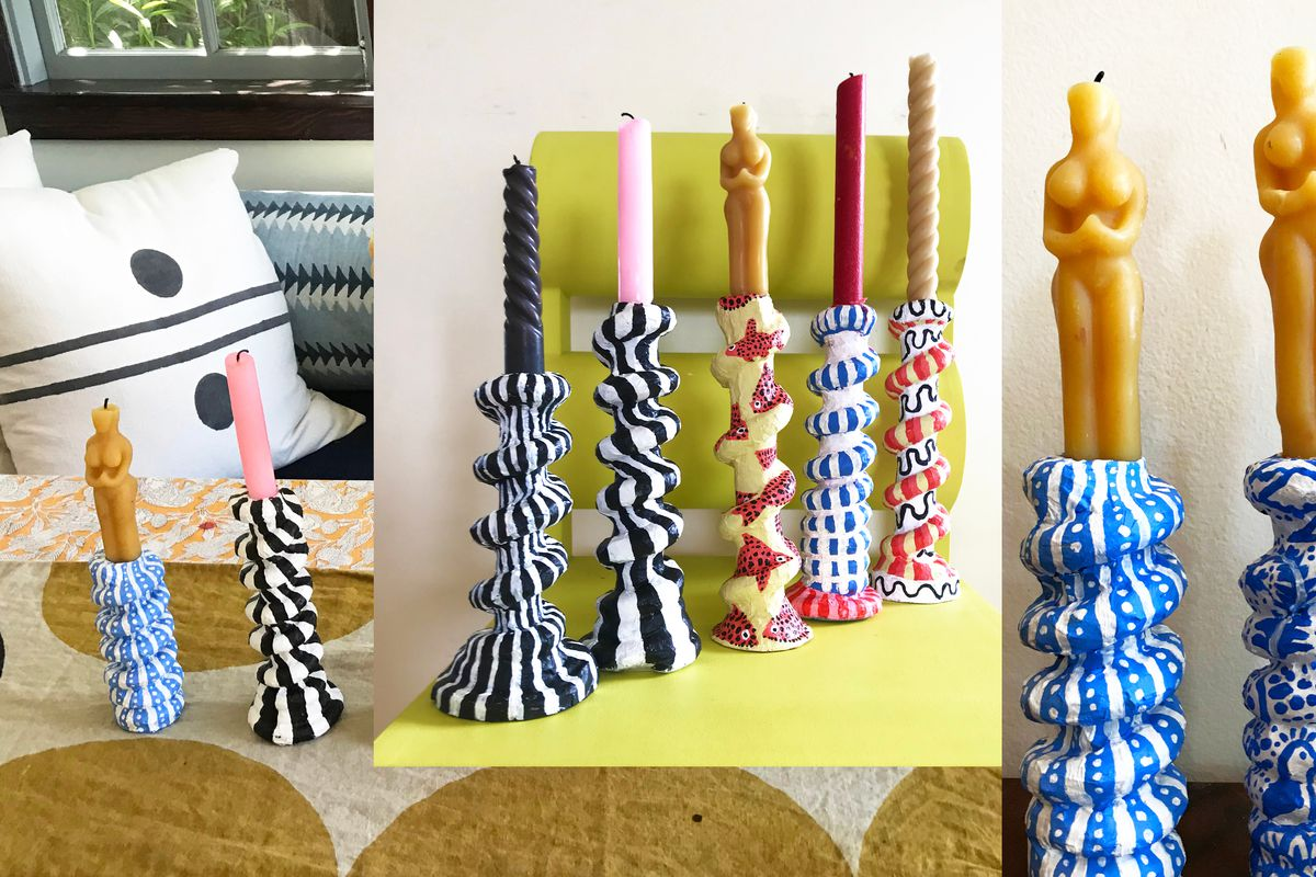 A collage of handmade candlesticks that have chubby, spiral shapes and are painted with black-and-white stripes, fishes, and vibrant colors.