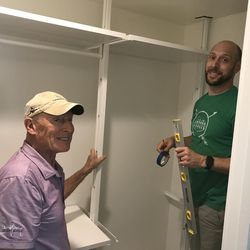 Grit Young and son Jim built closets in Jim's home that had been destroyed three years ago by a microburst.