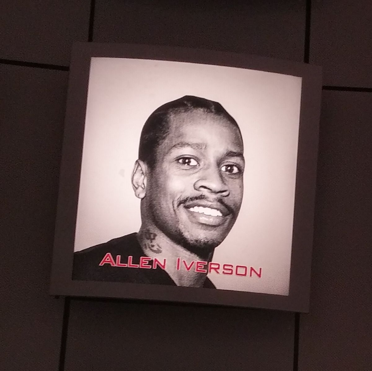 Allen Iverson's picture from the rotunda at the Naismith Memorial Basketball Hall of Fame.