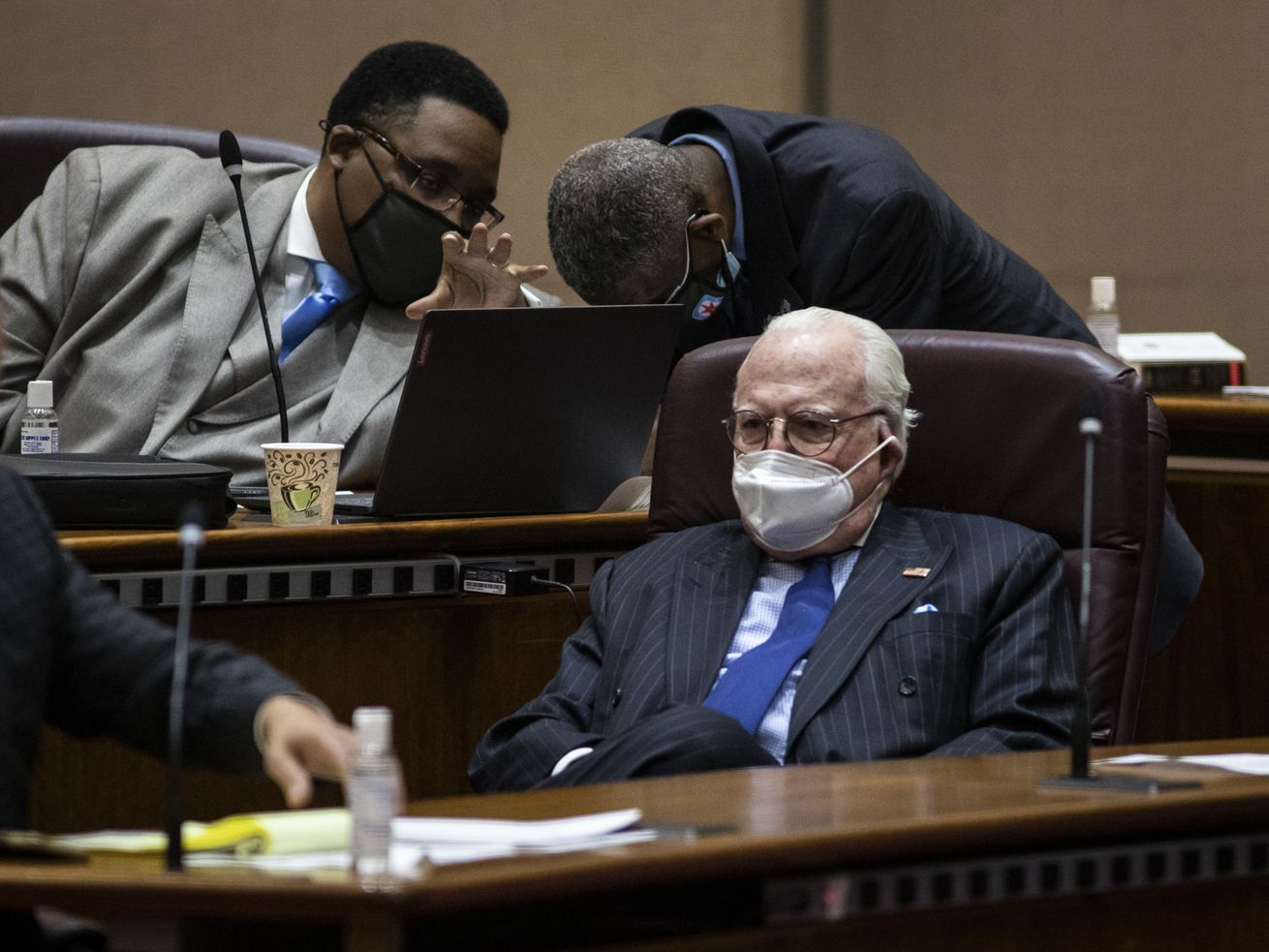 Ald. Ed Burke (14th) attends the City Council meeting Wednesday morning, the first in-person council meeting since the start of the coronavirus pandemic more than a year ago.