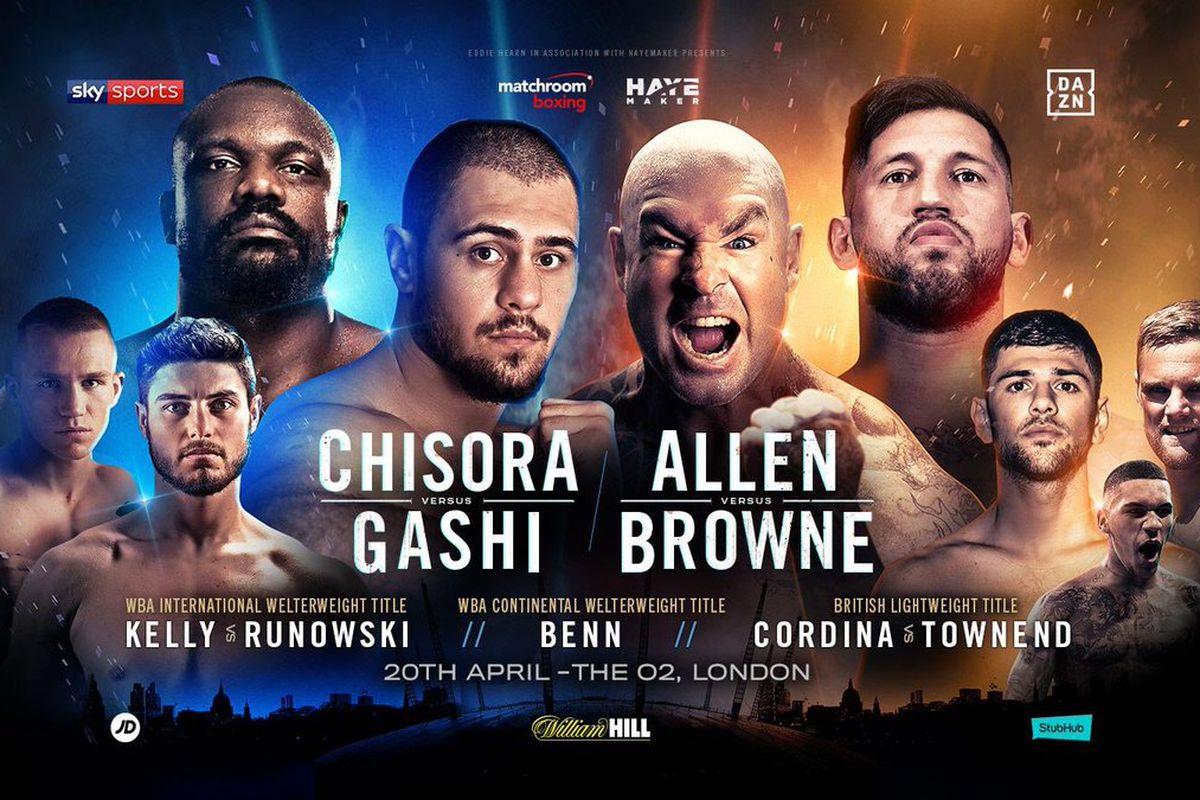Allen-Browne, Chisora-Gashi headline April 20th London card