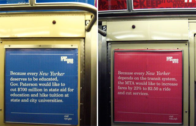 The ads parodying the Fund for Public Schools' Keep It Going NYC campaign. Via ##http://www.gothamist.com##Gothamist##.