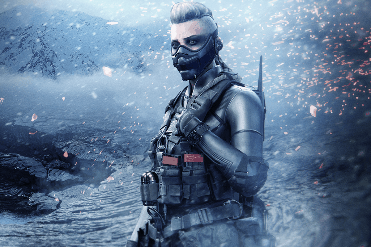 Wraith from Call of Duty: Warzone and Black Ops Cold War stands on a snowy mountain at night