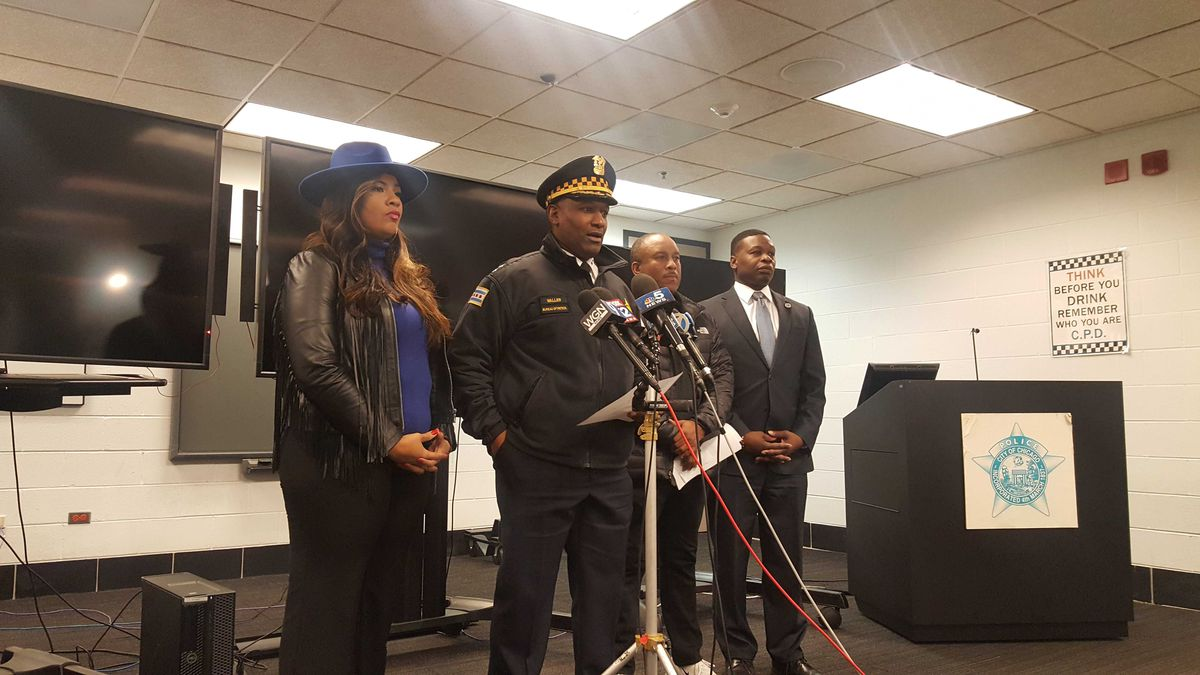 Chicago Police Chief of Patrol Fred Waller and Ald. Stephanie Coleman (16th) speak at a press conference about a mass shooting that wounded 13 Dec. 22, 2019, in the 5700 block of South May Street.