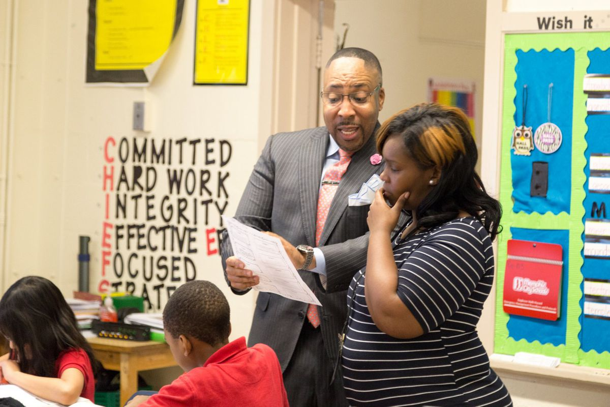 Cherokee Elementary School Principal Rodney Rowan coaches and observes fourth-grade teacher Elizabeth Frison. Coaching and supporting teachers is among the key elements of Shelby County Schools' teacher improvement work funded by the Gates Foundation.