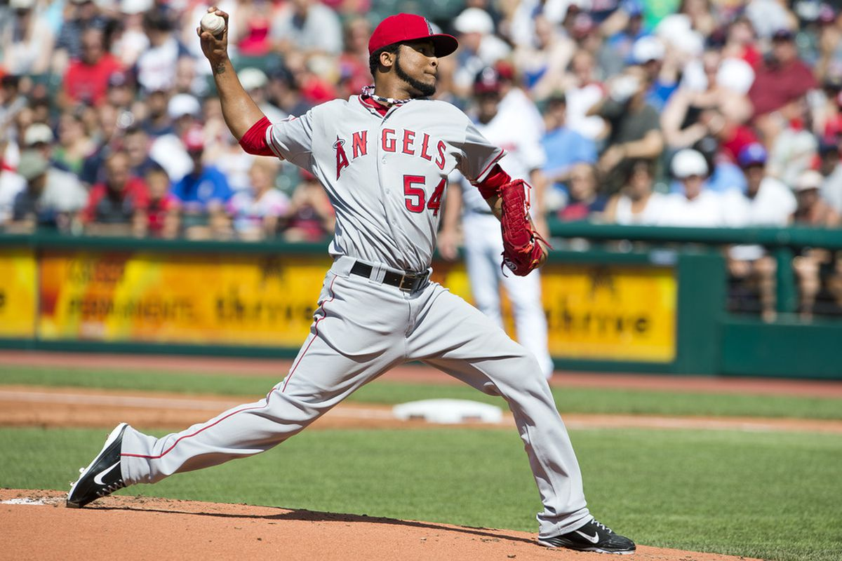 CLEVELAND, OH - JULY 4: Starting pitcher Ervin Santana #54 of the Los Angeles Angels of Anaheim during the first inning against the Cleveland Indiansat Progressive Field on July 4, 2012 in Cleveland, Ohio. (Photo by Jason Miller/Getty Images)