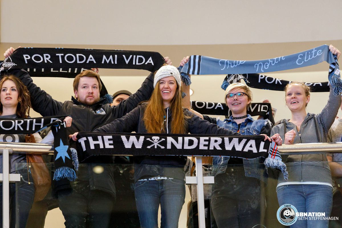 February 10, 2019 - Bloomington, Minnesota, United States - Fans cheer on from the balconies at the Minnesota United 2019 kit reveal at the Mall Of America.   (Photo by Seth Steffenhagen/Steffenhagen Photography)