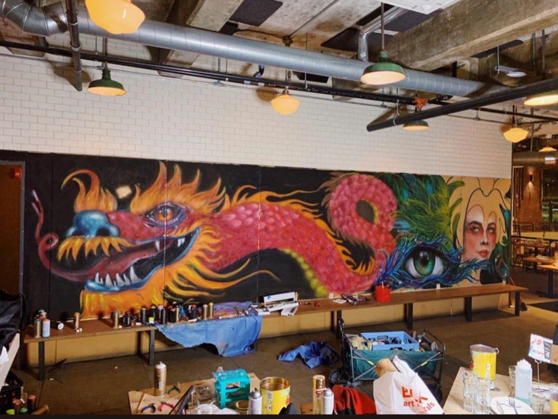 A dragon mural