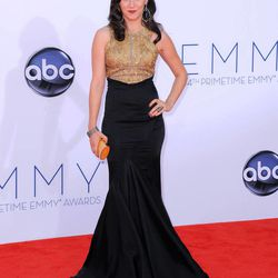 Actress Shannon Woodward arrives at the 64th Primetime Emmy Awards at the Nokia Theatre on Sunday, Sept. 23, 2012, in Los Angeles.