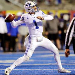 Brigham Young Cougars quarterback Zach Wilson (1) loads up for a long pass as BYU and Boise State play a college football game at Albertsons Stadium in Boise on Friday, Nov. 6, 2020. BYU won 51-17.