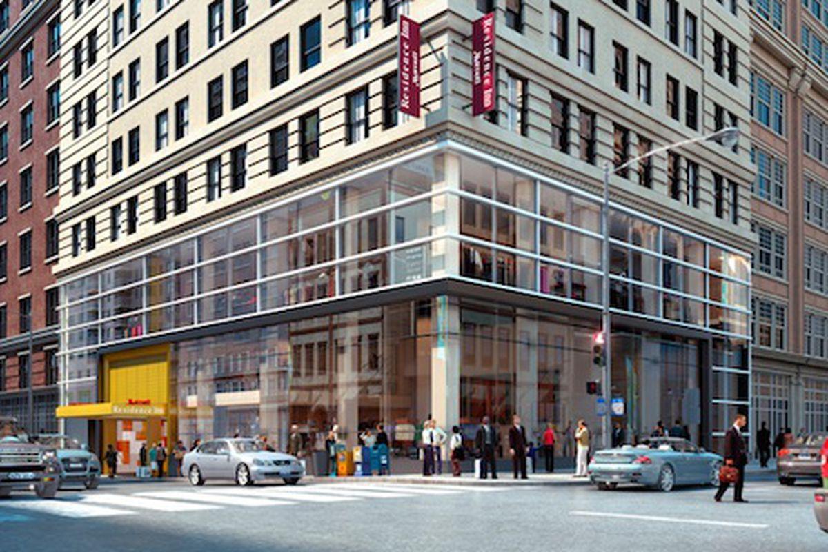 "170 Broadway; Image via <a href=""http://www.stonehilltaylor.com/projects/hotels/170-broadway-marriott-residence-inn"">Stonehill &amp; Taylor</a>"