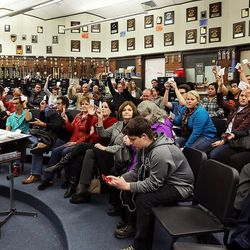 Precinct Chairman Garner Meads asks for voters to be counted during a Utah Republican caucus at Brighton High School in Salt Lake City on Tuesday, March 22, 2016.