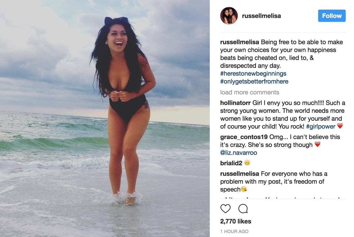 Melisa Russell took to Instagram late Wednesday and wrote that Addison cheated on her. The post has since been deleted. | Melisa Russell/Instagam