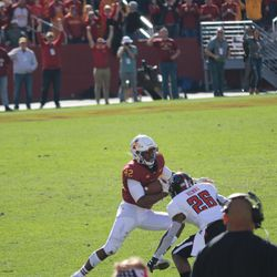 Marcel Spears Jr. (42) interception, Ta'Zhawn Henry (26) looks for his only meaningful play of the afternoon.