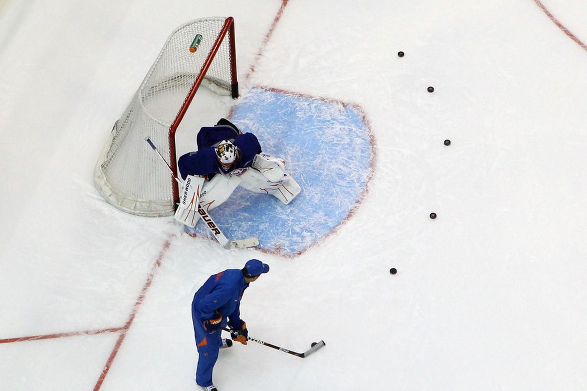 When facing six pucks at once, scouts say Anders Nilsson excels at identifying which poses the greatest threat.