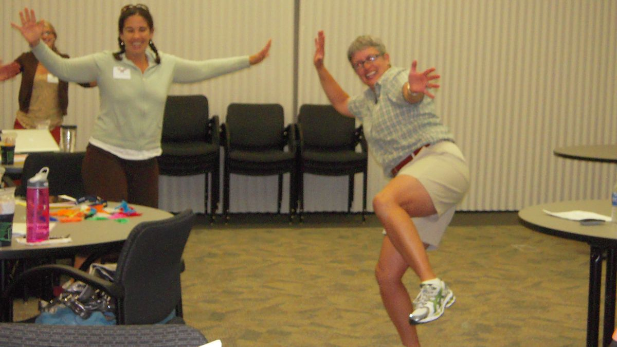 Not all professional development for teachers has to be about the three Rs. Here, teachers get help on how to integrate movement into school lesson. <em> EdNews </em> file photo