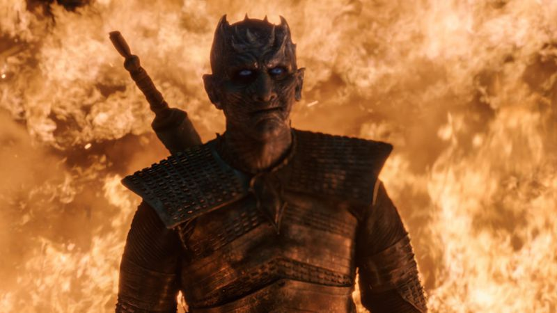 The Night King surrounded by dragonfire — Game of Thrones season 8, episode 3