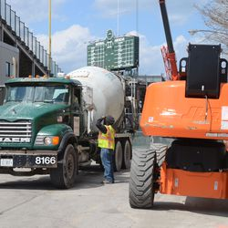 2:16 p.m. Concrete truck backing in on Sheffield -