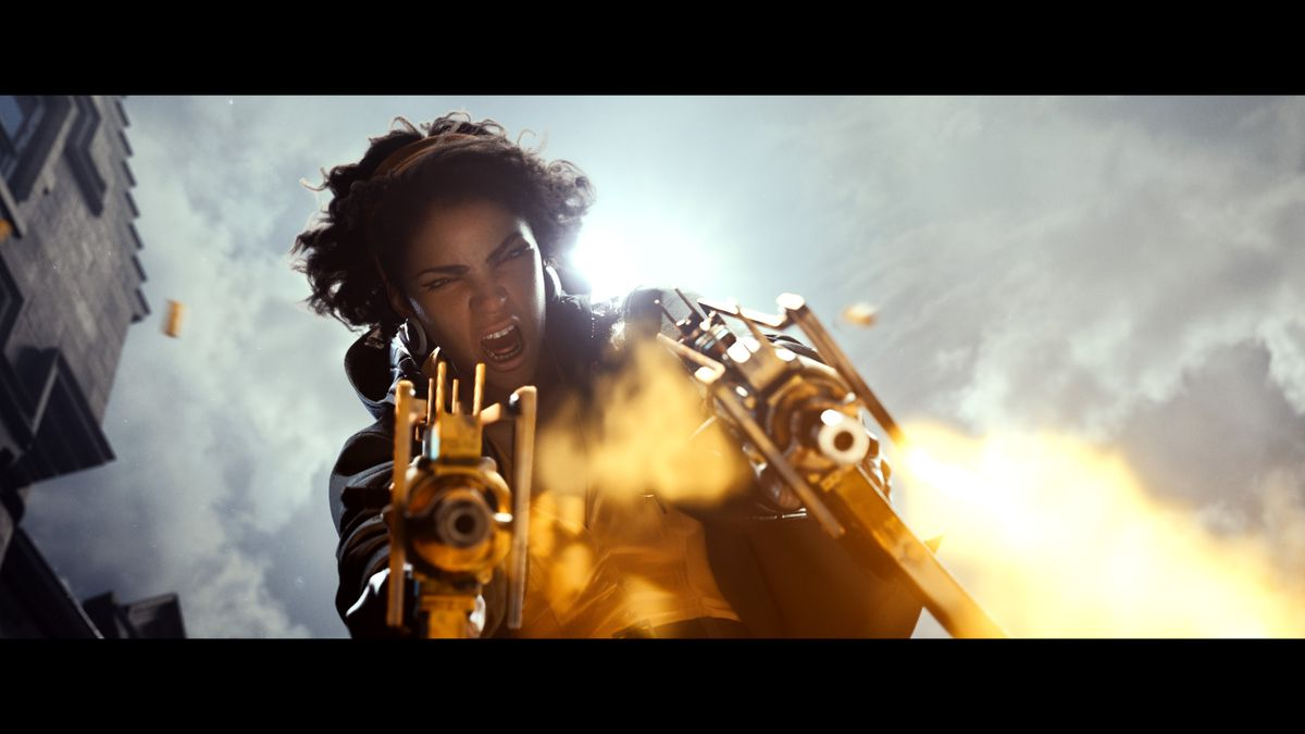 concept art from Deathloop of the character Julianna, a black woman with frizzy hair, firing two submachine guns