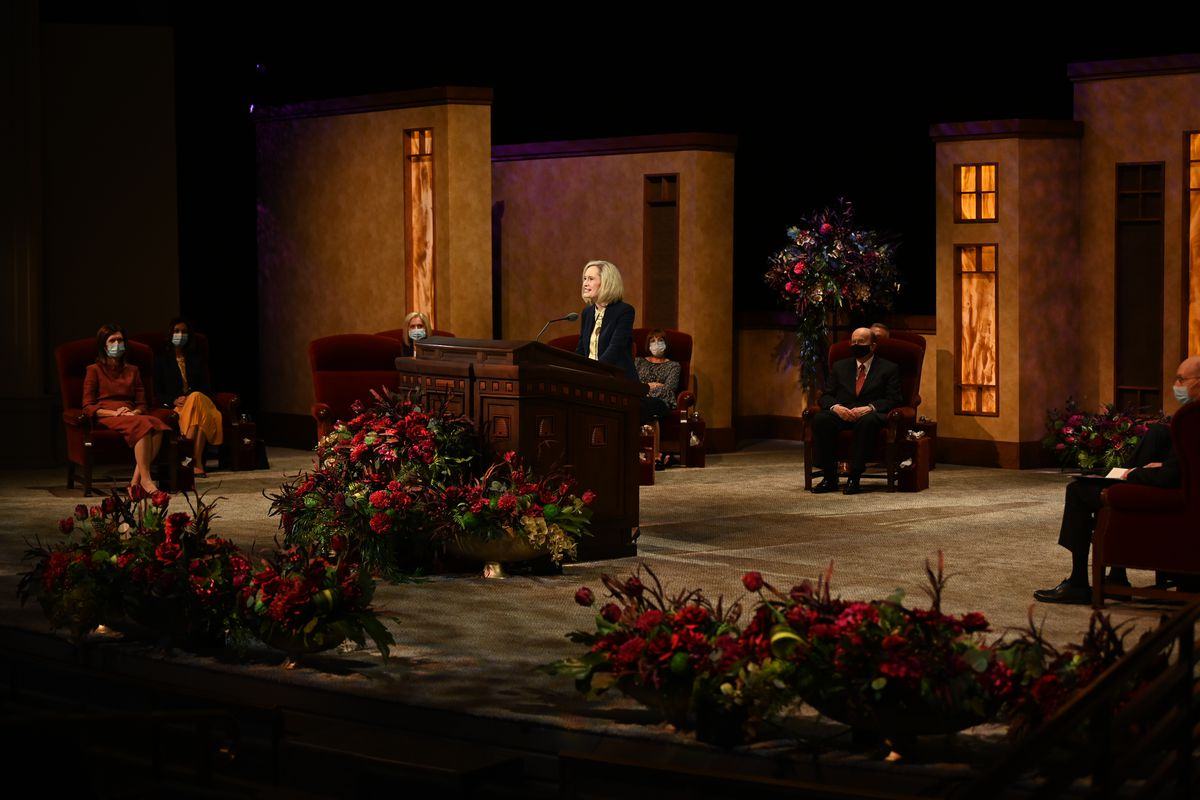 President Bonnie H. Cordon, Young Women general president, conducts the women's session of the 190th Semiannual General Conference of The Church of Jesus Christ of Latter-day Saints on Oct. 3, 2020.