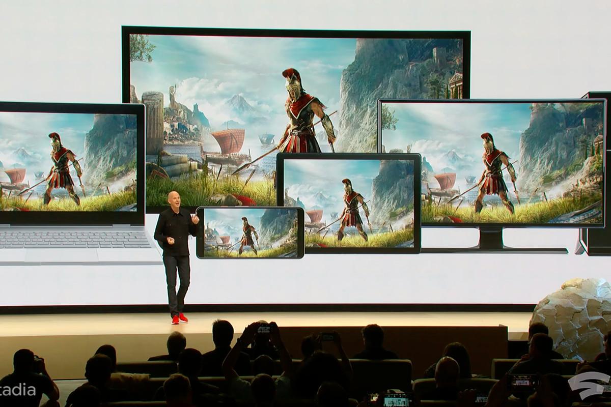 Google stadia, montrant un jeu joué sur plusieurs console grâce à la 5g