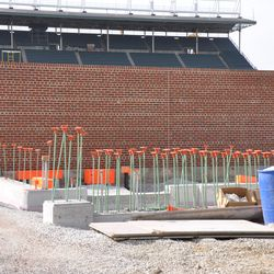 Right-field inner wall. The Gate Q opening is at the left -