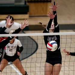 Lone Peak and Copper Hills face off in the 6A volleyball championship match at Hillcrest High School in Midvale on Saturday, Nov. 7, 2020.