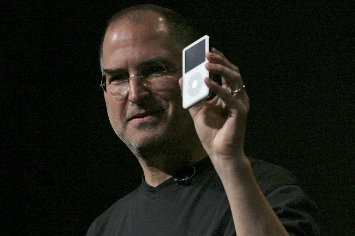 Steve Jobs introduces a new version of the iPod at a 2005 event.