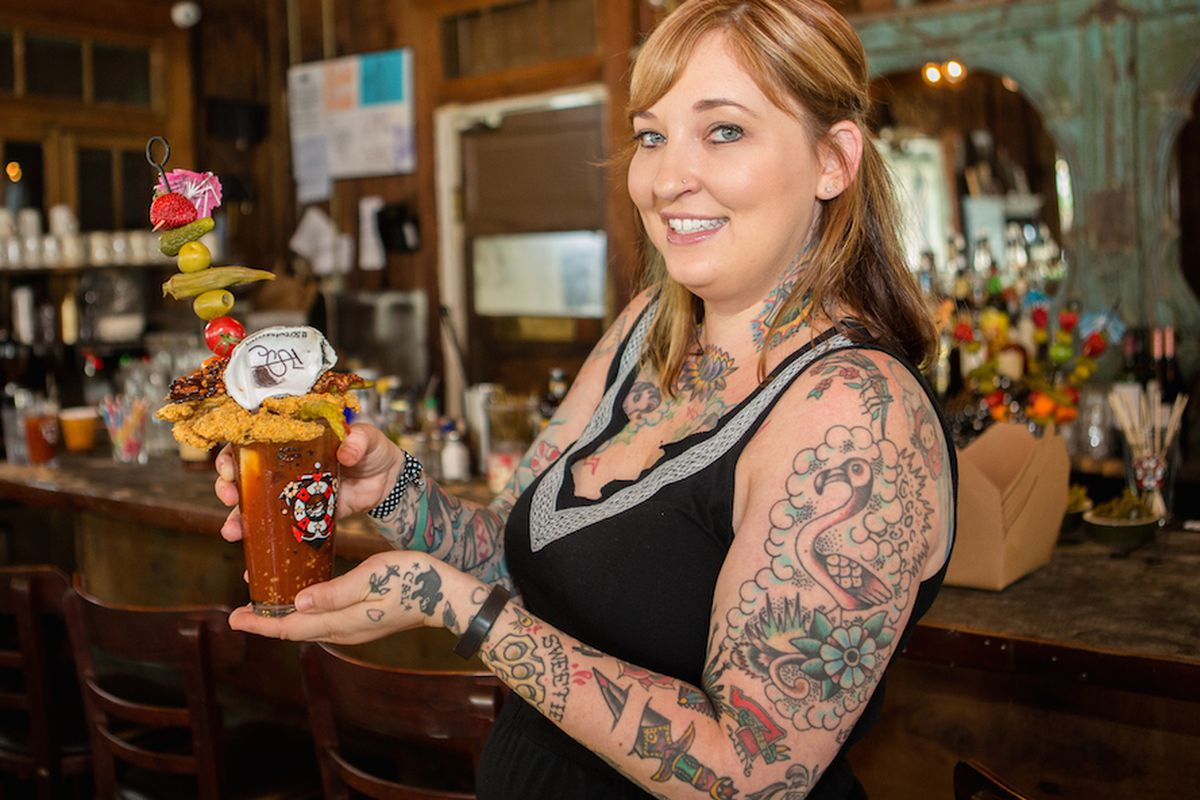 """Sailor Jerry Brand Ambassador Hayley Waldner with a truly impressive """"Bloody Jerry."""""""