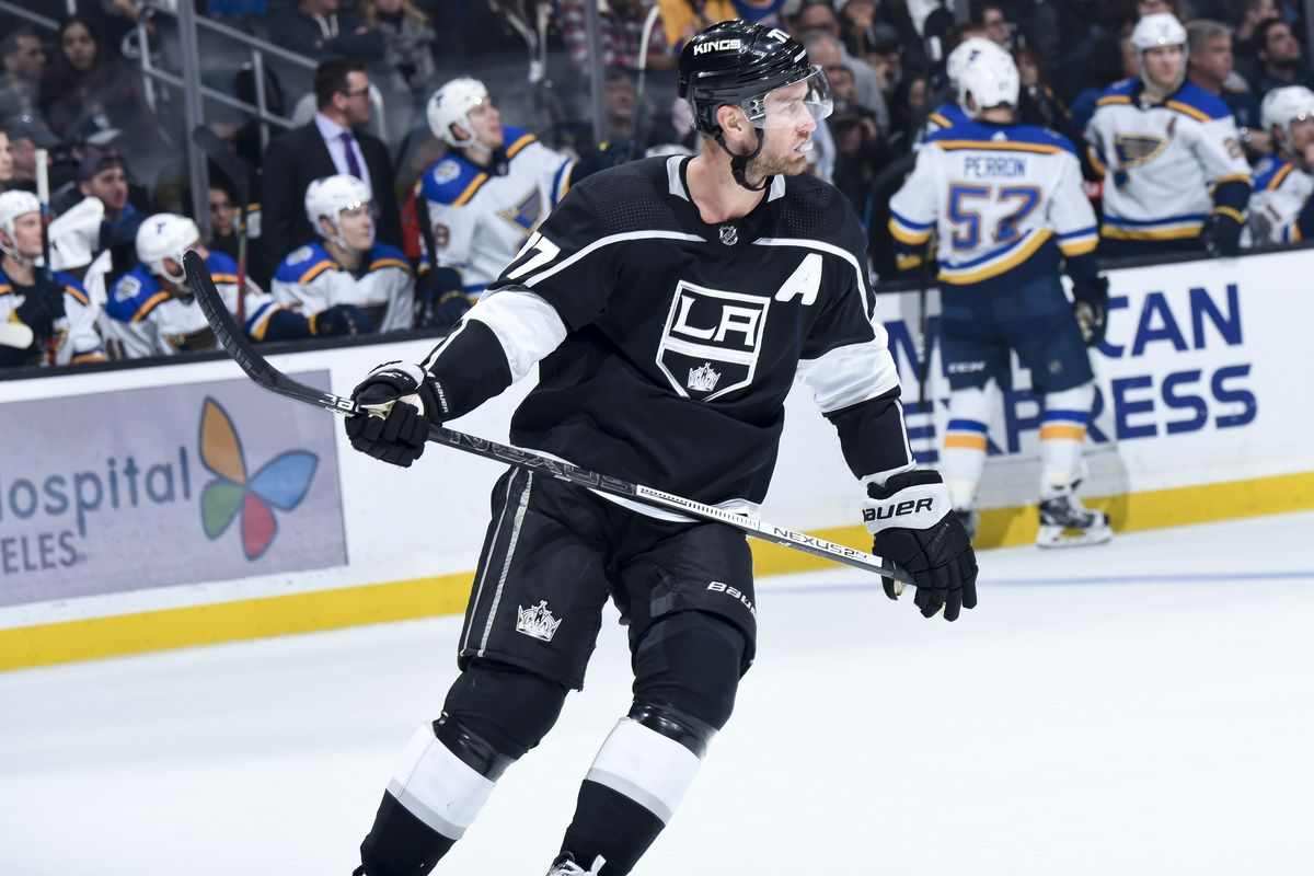 Jeff Carter #77 of the Los Angeles Kings skates while waiting for play to resume during the third period of the game against the St. Louis Blues at STAPLES Center on December 23, 2019 in Los Angeles, California.