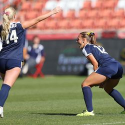 Bonneville's Sadie Beardall screams as she celebrates a goal as Bonneville plays Skyline in 5A girls soccer state semifinal action at Rio Tinto Stadium in Sandy, Utah, on Tuesday, Oct. 20, 2020. Bonneville won 2-0.