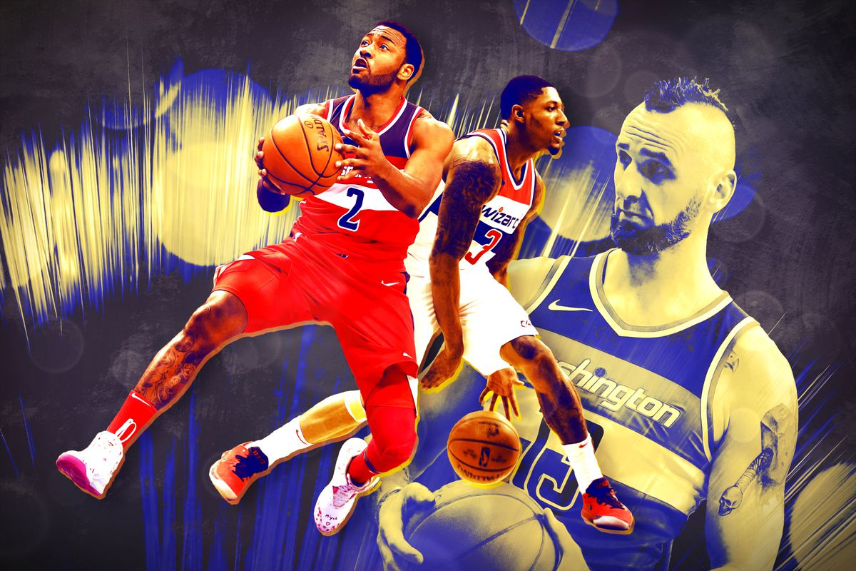 John Wall and Bradley Beal in full color, and Marcin Gortat in black and white