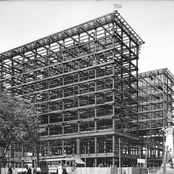 A frame of a building in 1910 which would become the Hotel Utah in June of 1911.