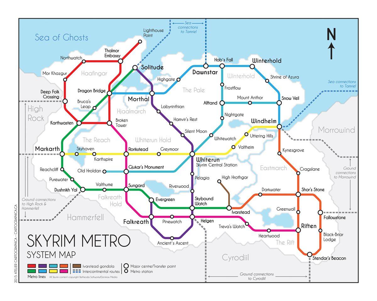 skyrim metro map